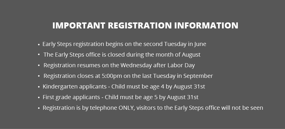 Registration Information for Early Steps, New York City